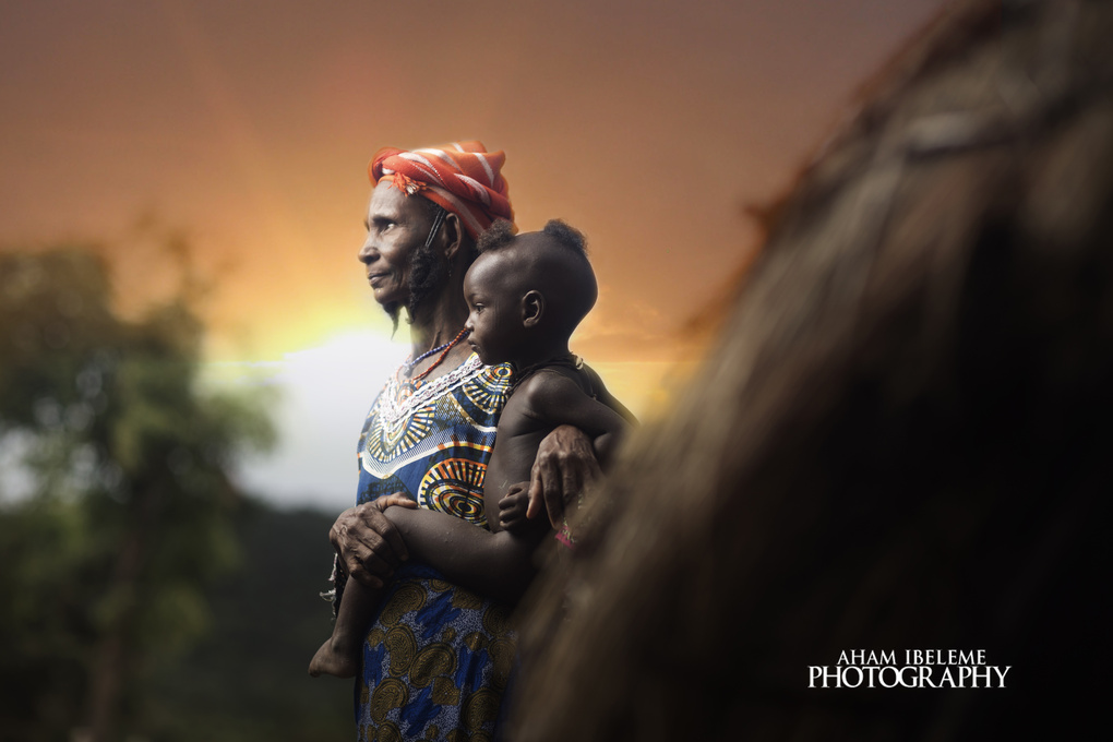Portrait of a Kogi woman and her grand child by Aham Ibeleme