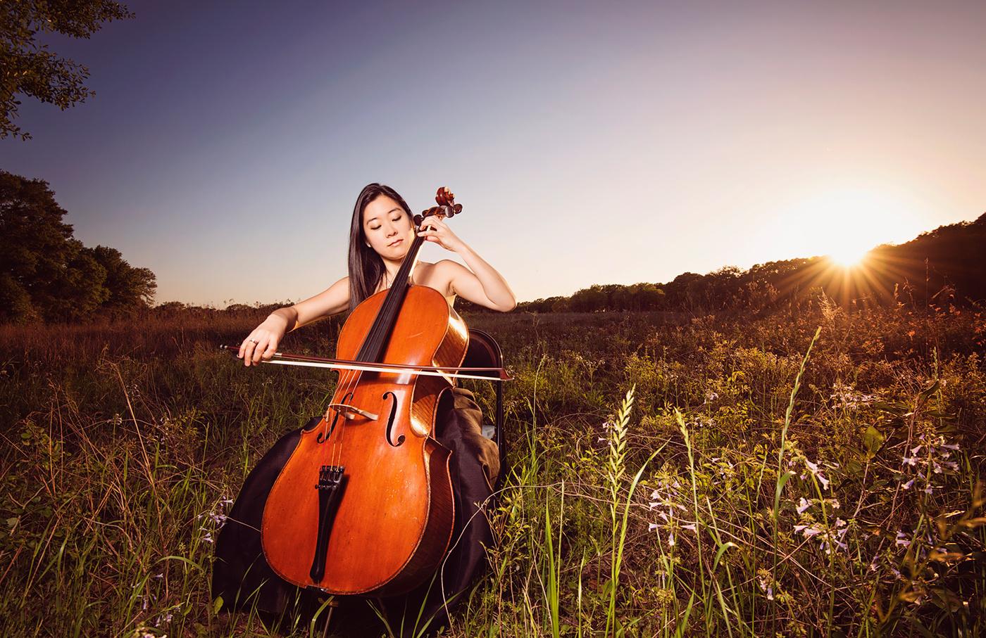 Sunset Cello - Brazos Park by Hussain Hijazi