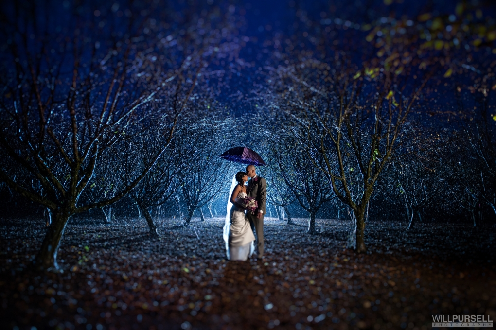 Rainy wedding portrait by Will Pursell