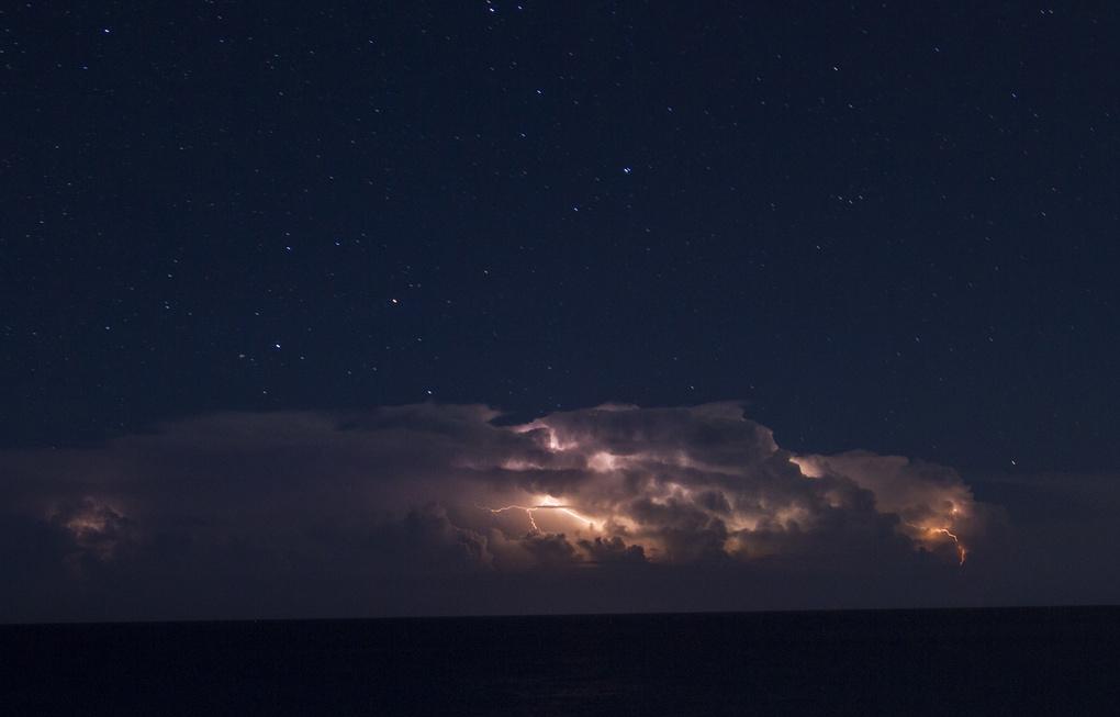 Lightning over the Caribbean by Adrian Borunda