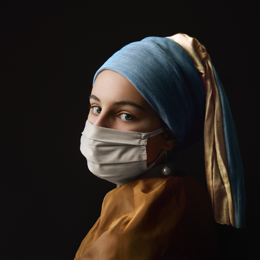 (masked) girl and a pearl earring by Anthony Passant