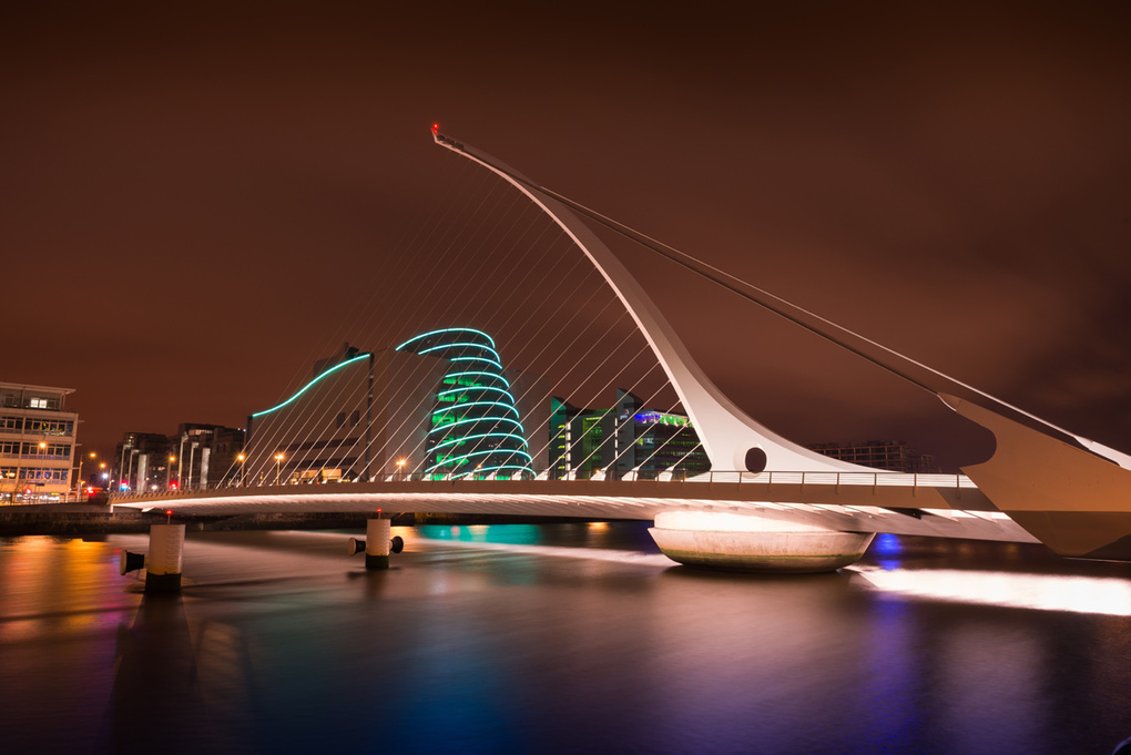 Samuel Beckett Bridge Nighttime by Wayne Denny