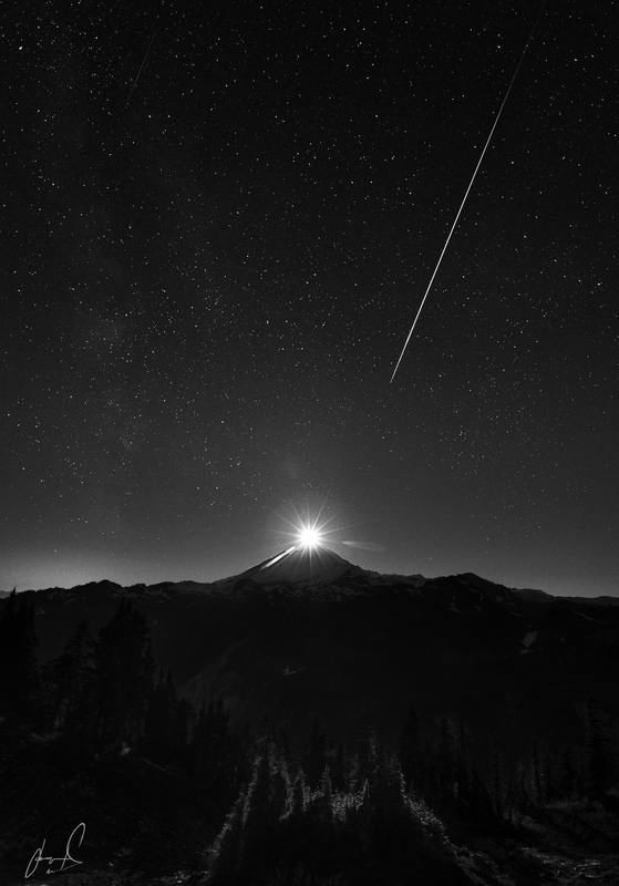 Moonset over Mt Baker during the Perseid Meteor by Jason Matias
