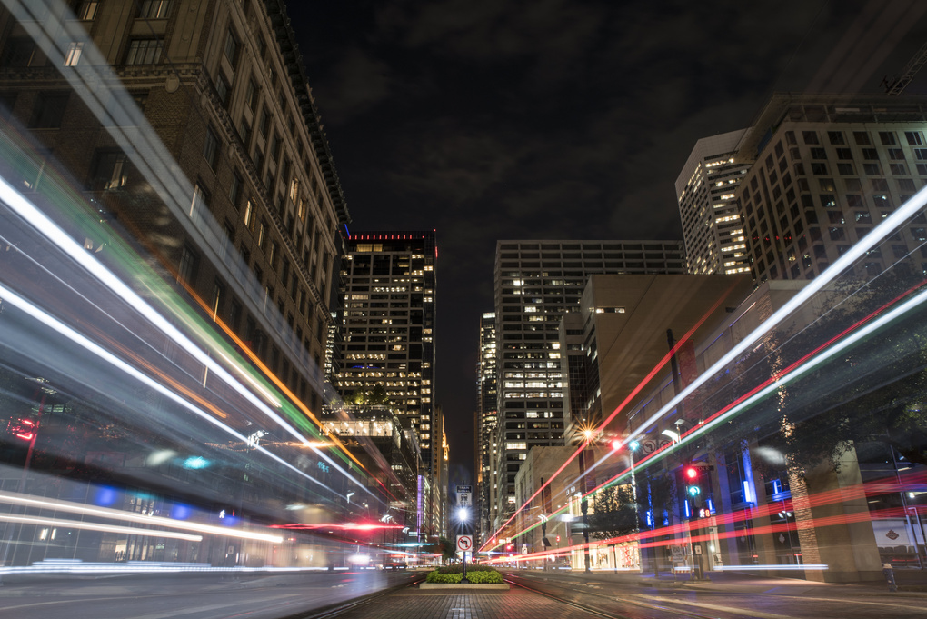Downtown Trains by Andrew Strother