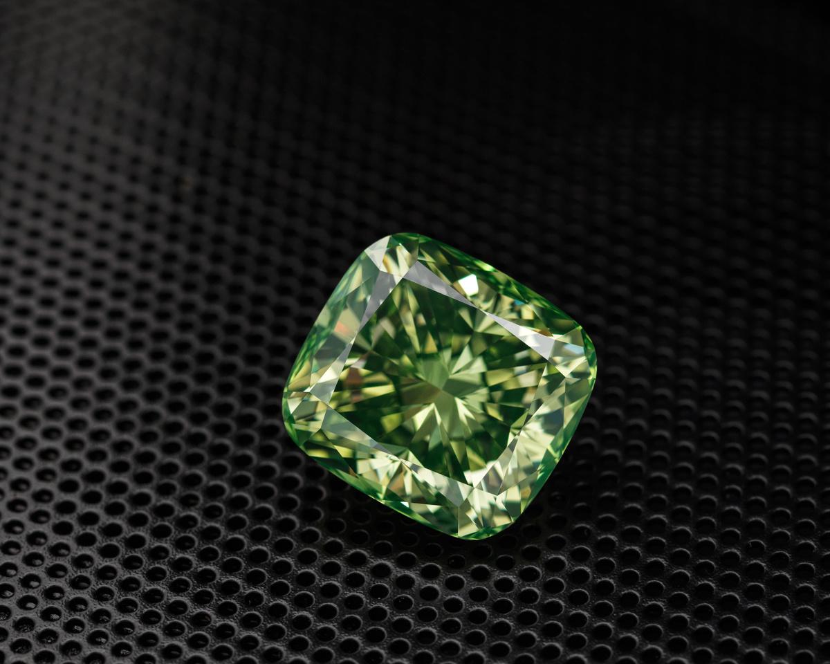 Green Cushion Cut Diamond by Edgar Maivel