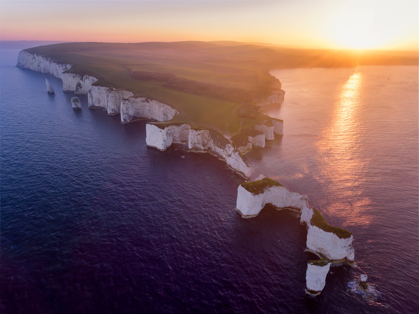 Sunset on Old Harry's rock by Jerome Courtial
