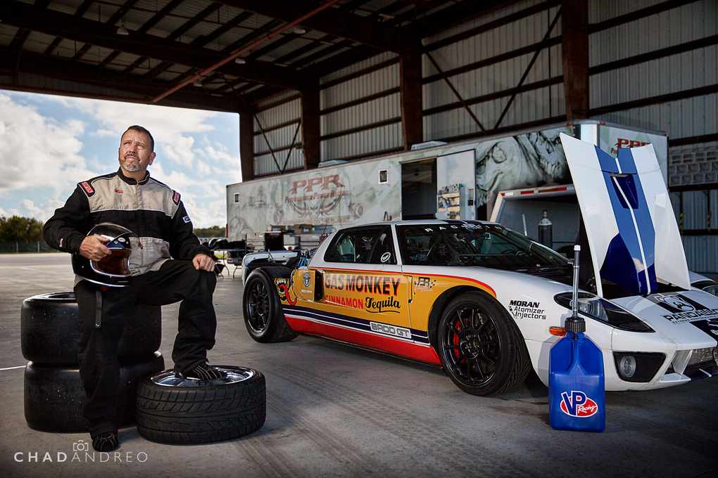 Portrait of Johnny Bohmer Racing and The BaddGt AKA The Worlds Fastest Car by Chad Andreo