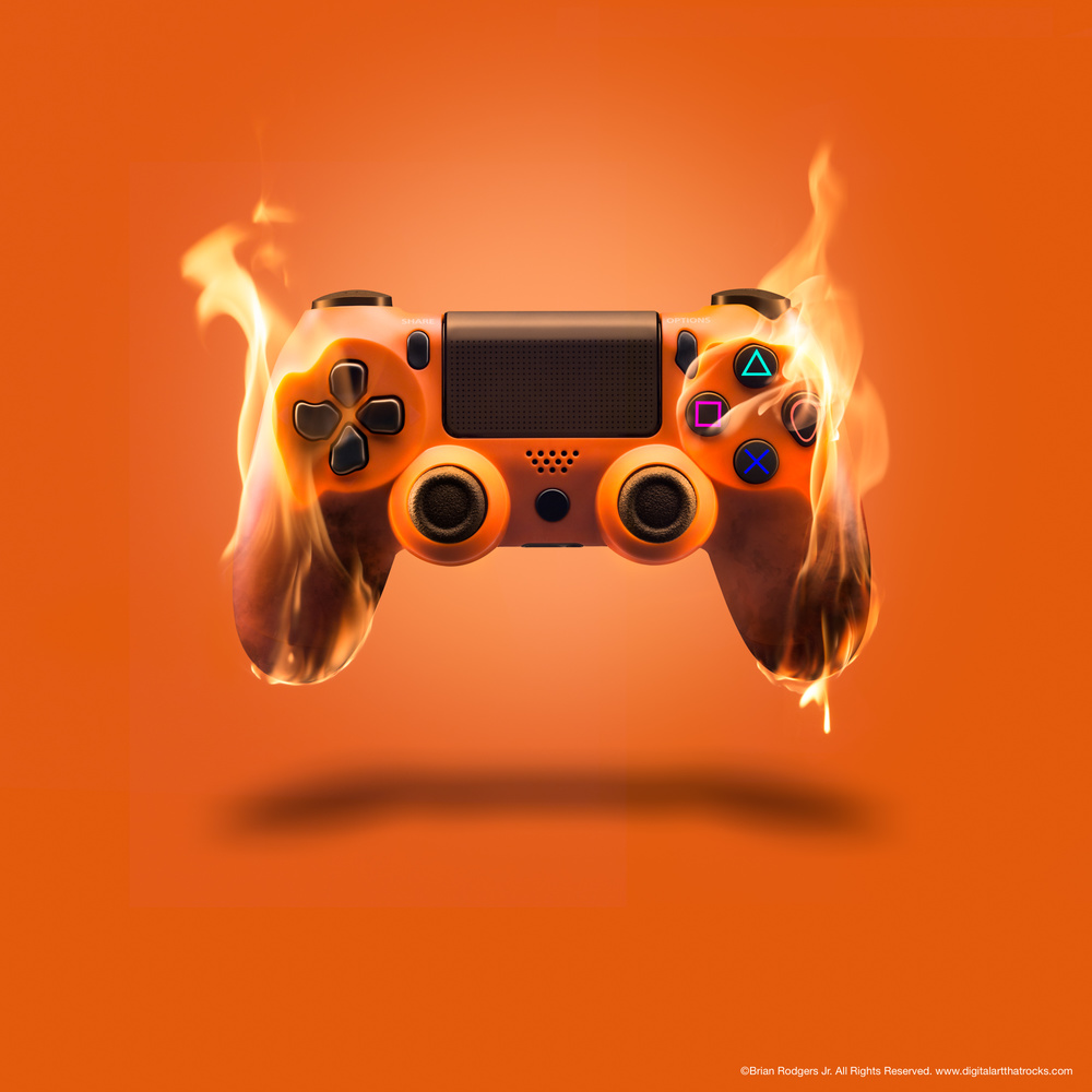 Game Controller on Fire by Brian Rodgers Jr.