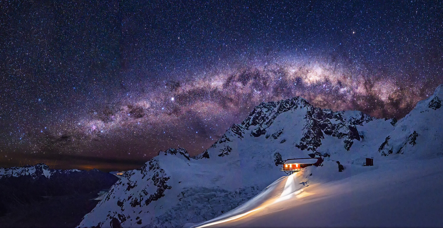 Milkyway over Mt Cook and Plateau hut New Zealand by Nico BABOT
