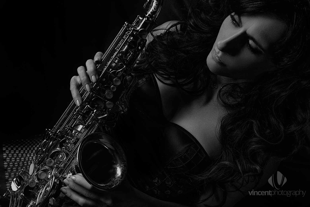 Keeshea a Lady and her Saxophone by vincent photography