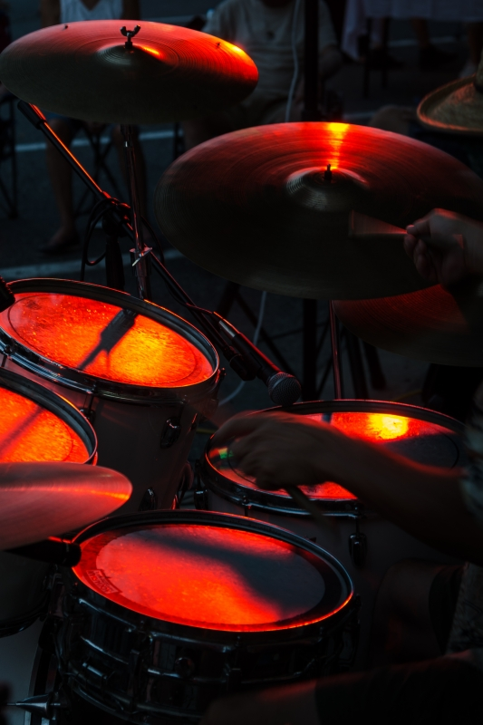 Drums and a drummer by Walt Polley