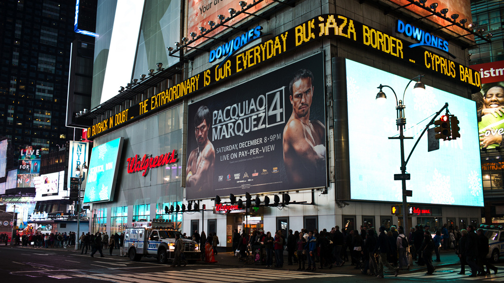 Manny Pacquiao and Juan Manuel Marquez Times Square Billboard for Top Rank Boxing, boxers photographed by Monte Isom f by Monte Isom