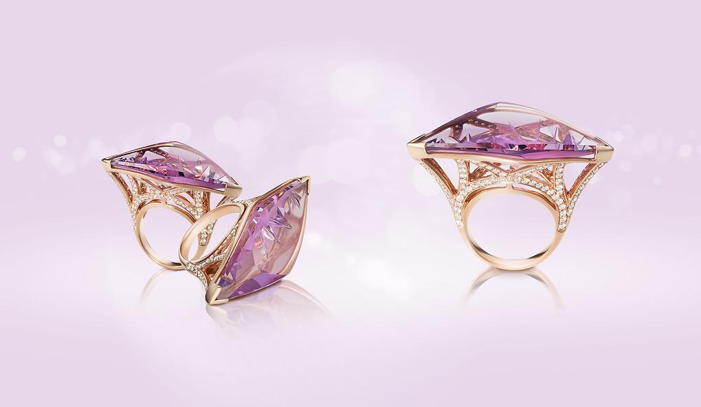 Rose Amethyst & Diamonds ring  by Alex Koloskov