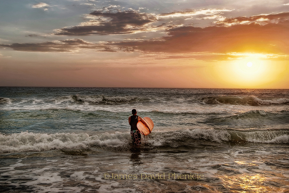 Sunset Surfing by James Phenicie
