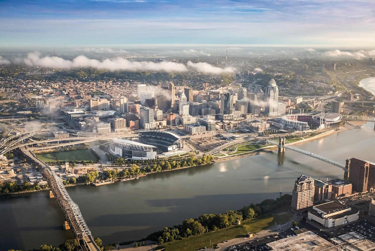 Aerial Photo of the Riverfront in Cincinnati, Ohio by Rick Lohre