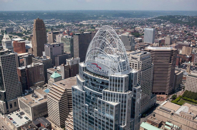 Aerial Photo of Queen City Building in Cincinnati, Ohio by Rick Lohre