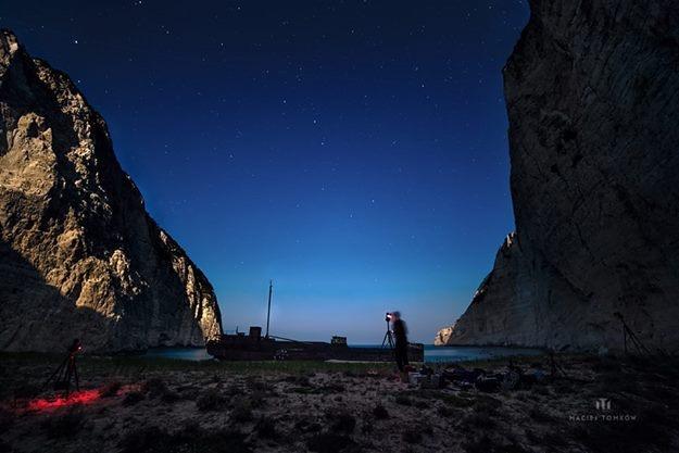 Shooting at Navagio Shipwreck Beach by Maciej Tomków