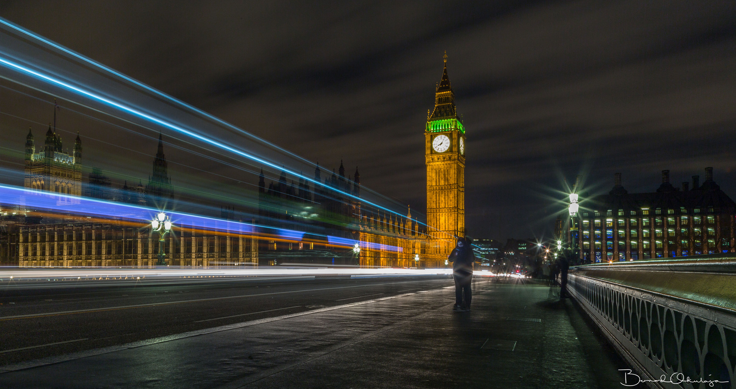 Bus Trail On Westminster Bridge London by Bernard Okulaja