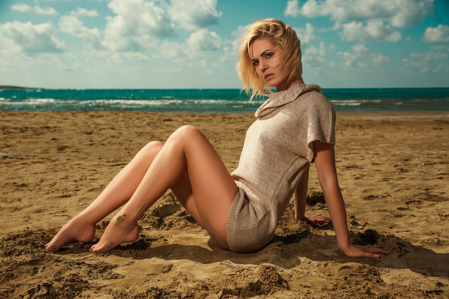 Girl on the beach by Christopher Stavrinides