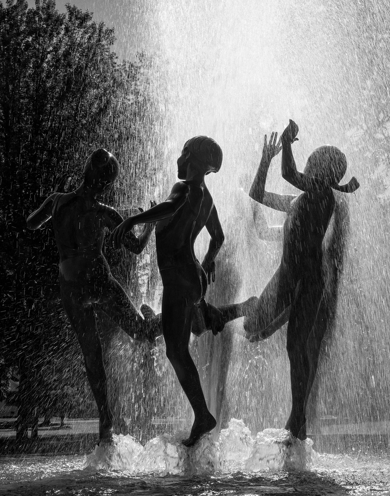 Water Fountain Children by Mike Burman