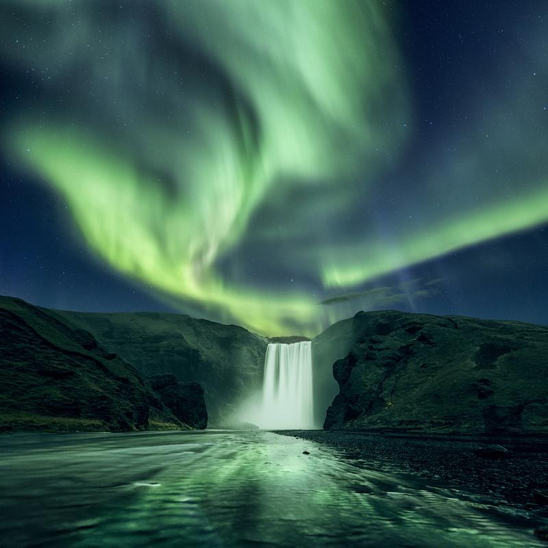 Skogafoss aurora by Mads Peter Iversen