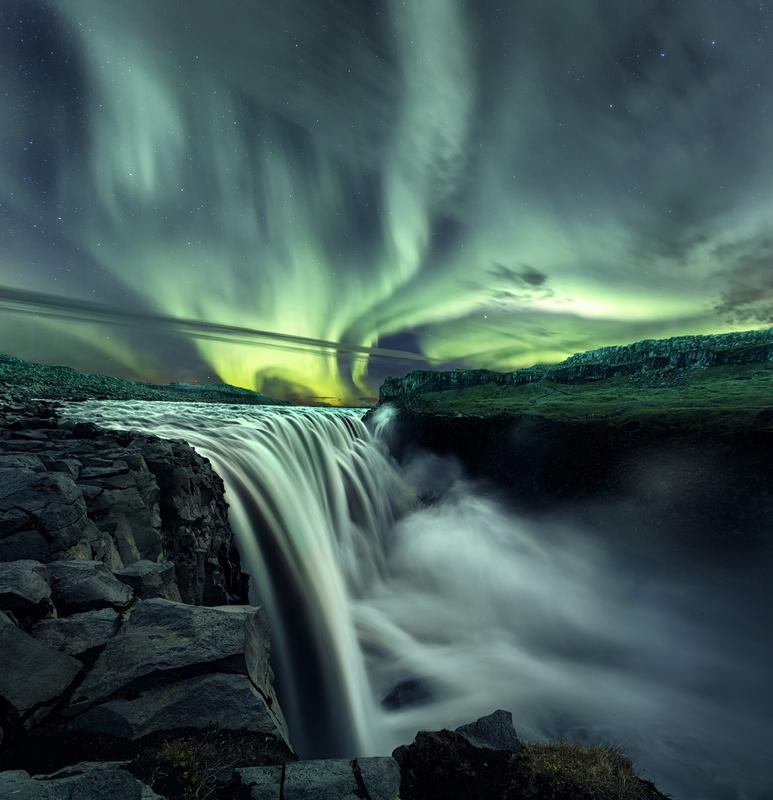 Dettifoss Aurora by Mads Peter Iversen