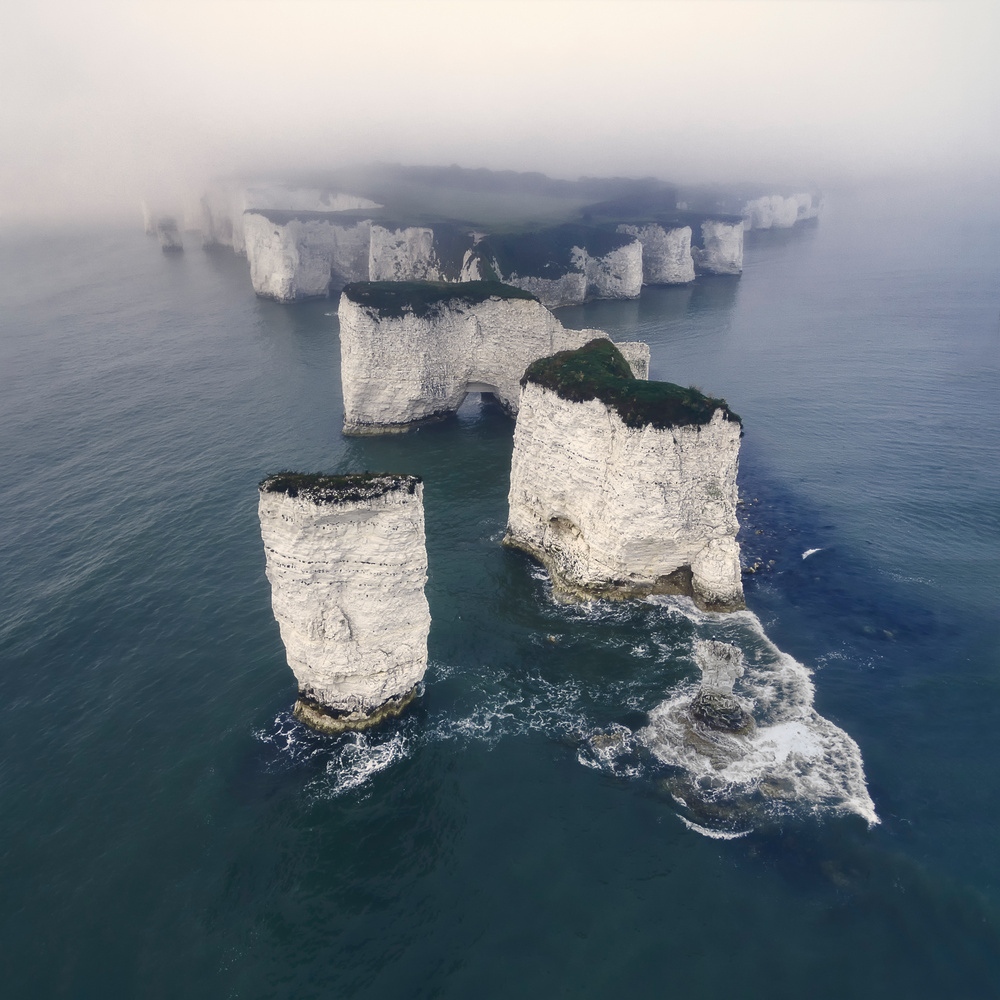 Old Harry Rocks morning mist by Mads Peter Iversen
