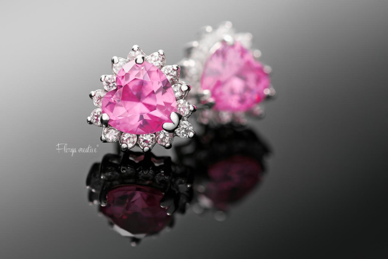Pink stone heart earings by Tomas Rak
