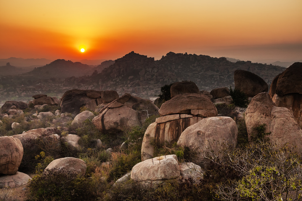 Sunset in Hampi, India by Katya Grozovskaya