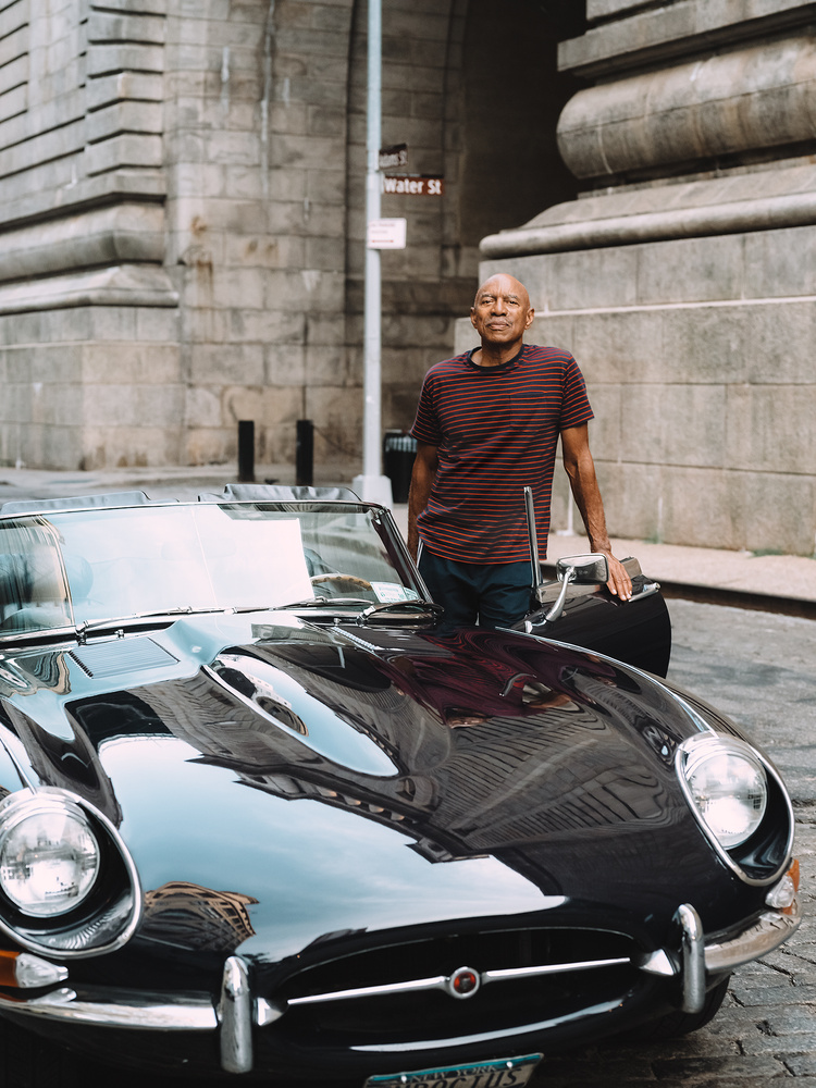 George and his E-Type Jaguar by Shaun Maluga