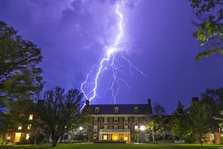 Vivid lightning strike behind Tappan Hall by Ricardo Treviño Jr.