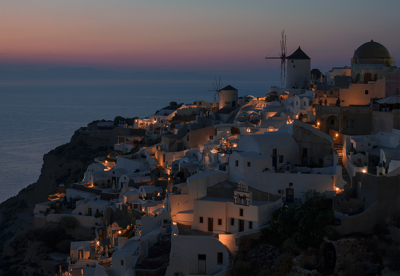 Oia at Dusk by Bill Peppas