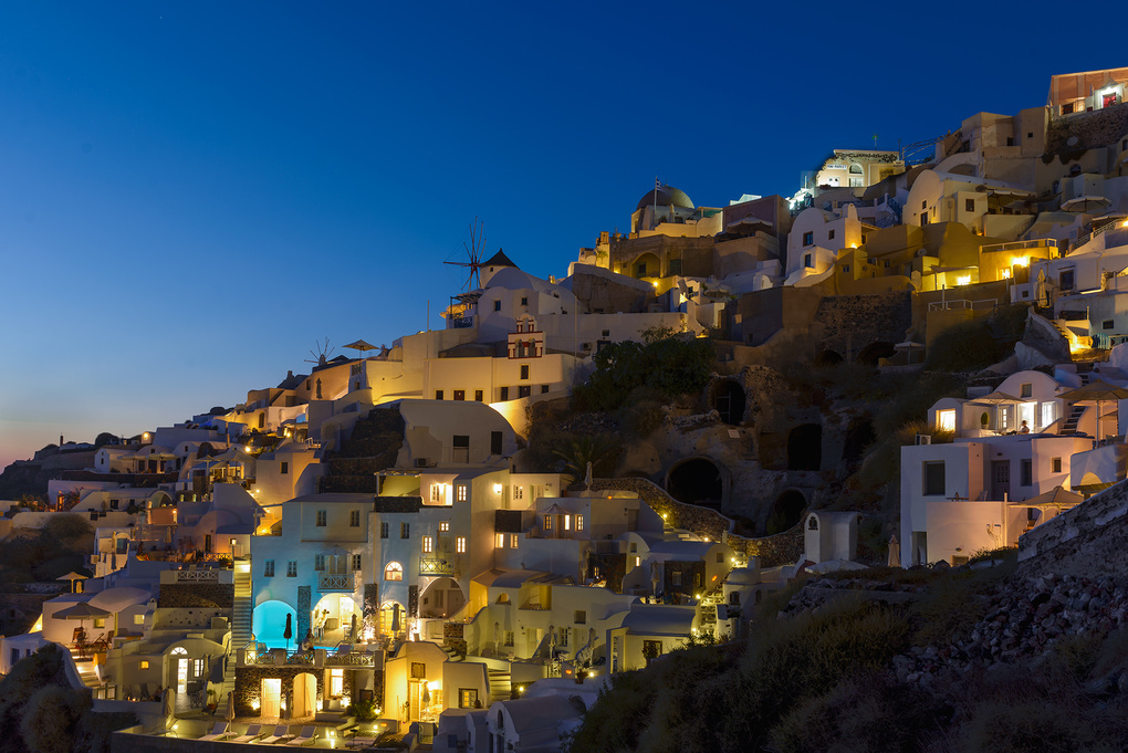 Santorini by Night by Bill Peppas