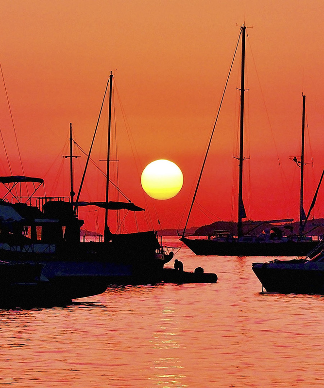 Sailboats on Orange by Brian Murphy