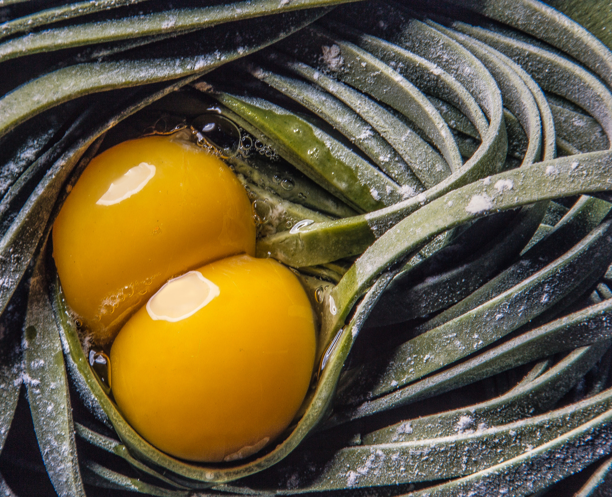 Noodles and eggs still life by Faro Mojahedi