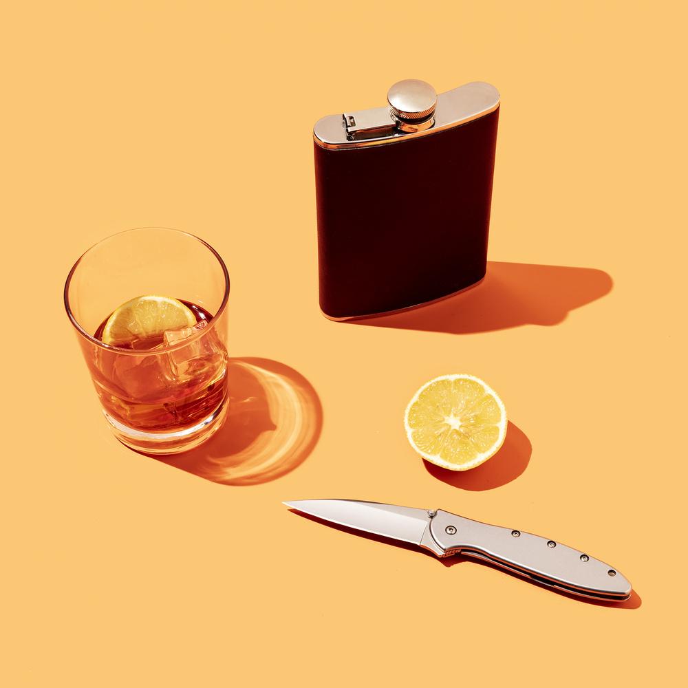 Whiskey, Lemon, Flask, Knife by Dave Bradley
