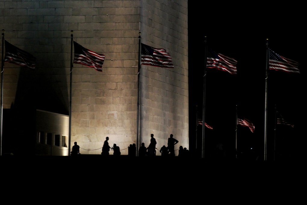 Silhouettes at the Washington Monument  by Russell Turner