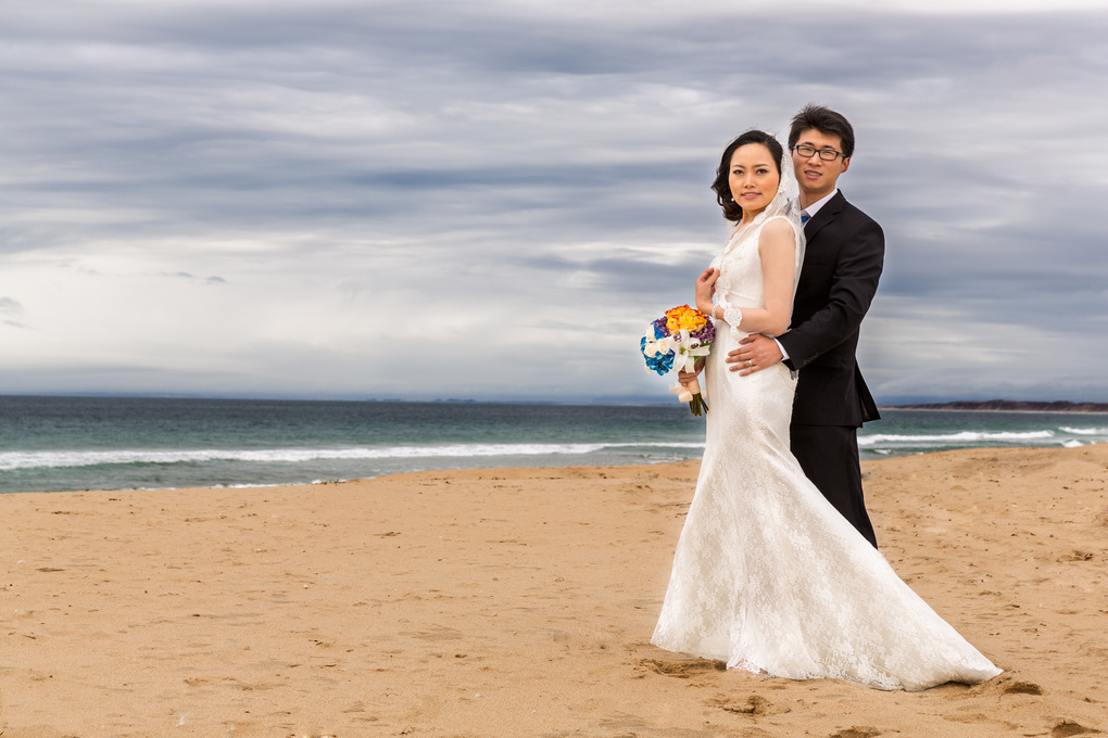 Seaside Bride & Groom Portrait in Monterey, CA by Trifon Anguelov Photography