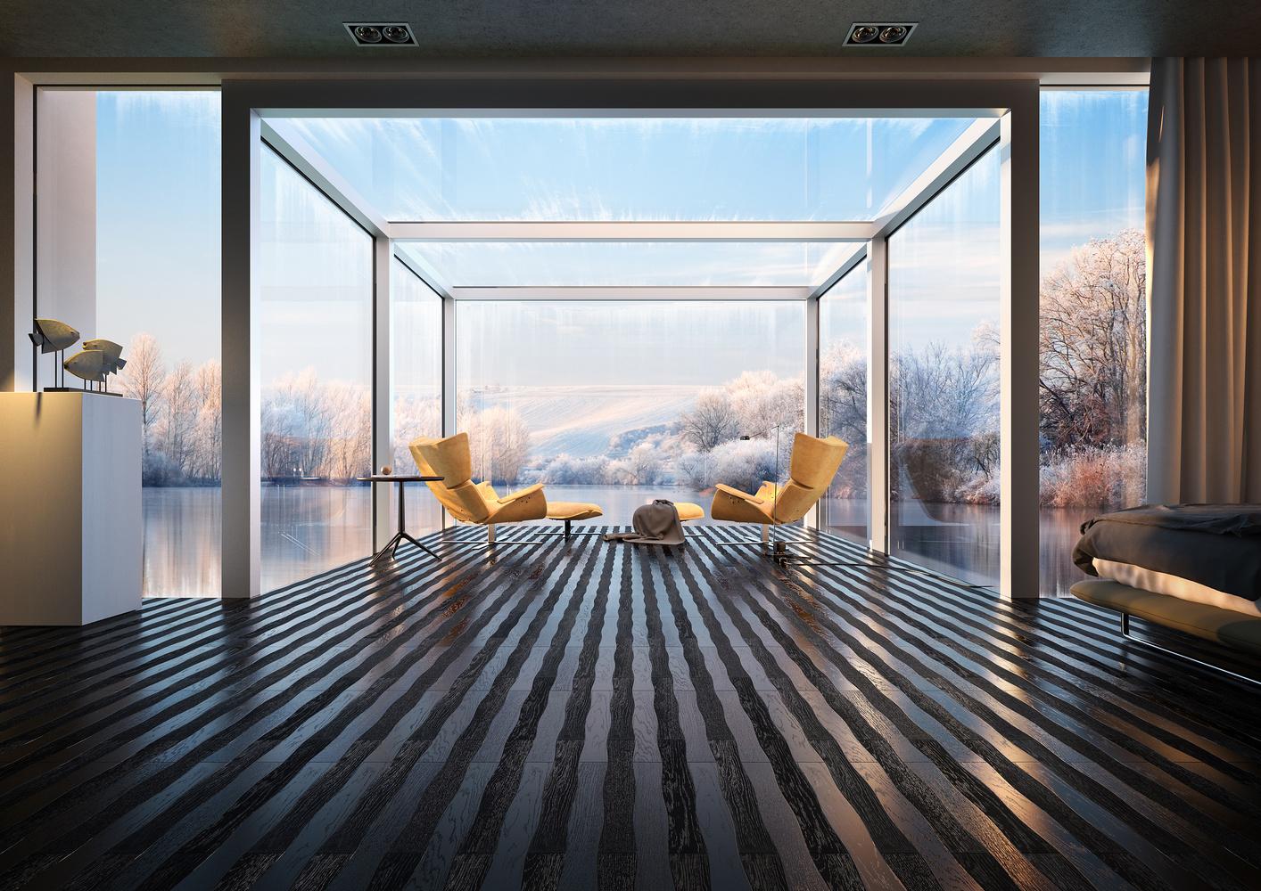 Lake House in Winter by Francesco Fusina