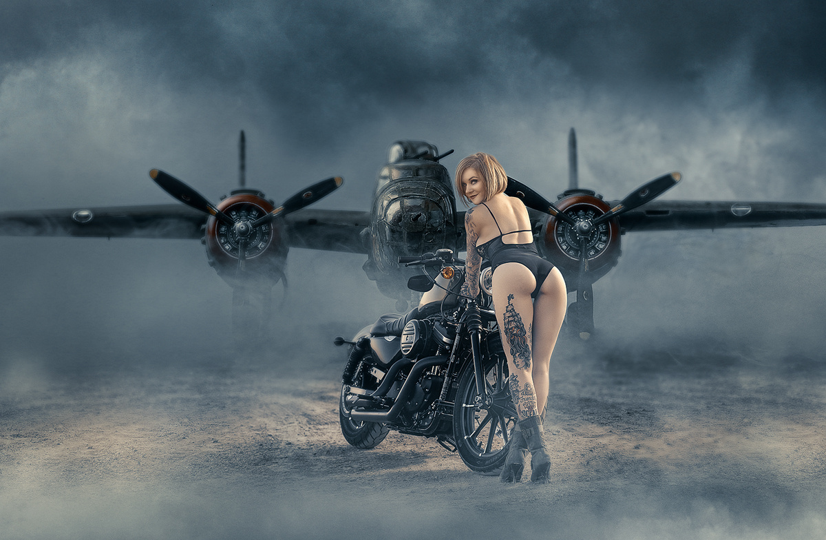 B-25 Bomber with Harley by Bill Larkin