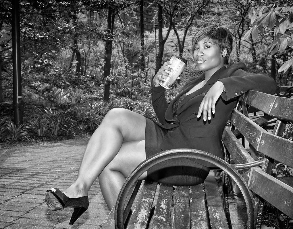 Sipping Coffee in the Park by Val Tourchin