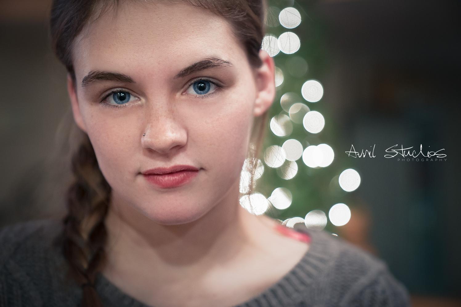 Christmas Tree Lights Portrait  by David Morales