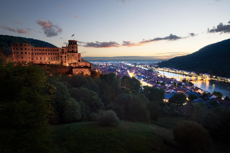Heidelberg Germany Heidelberg Schloss Terrasse Sunset City Lights by Raoul Schipper