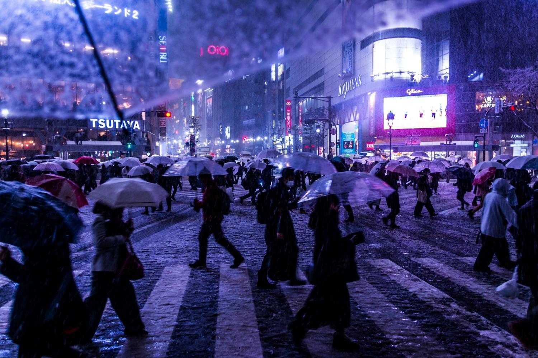 From My Umbrella - Snowy night at Shibuya crossing by Koukichi Takahashi