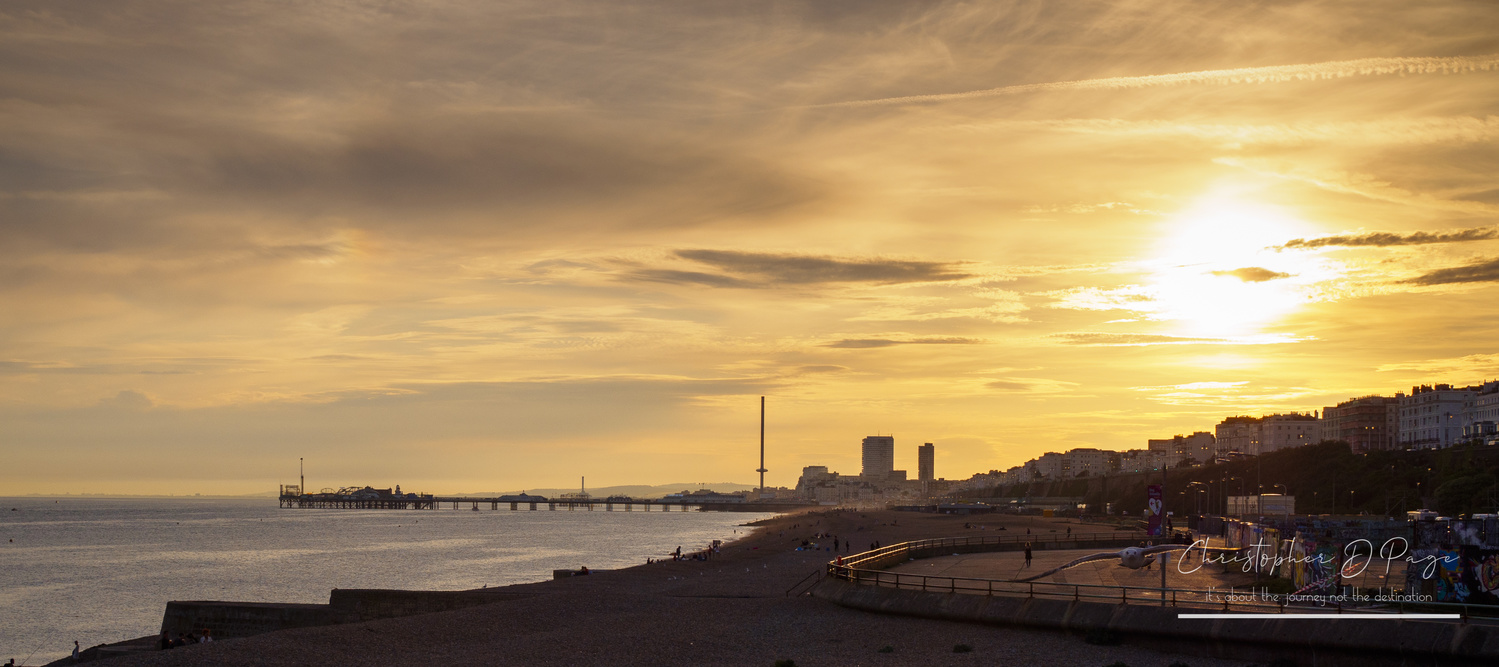 Sunset over Brighton Beach by Chris page