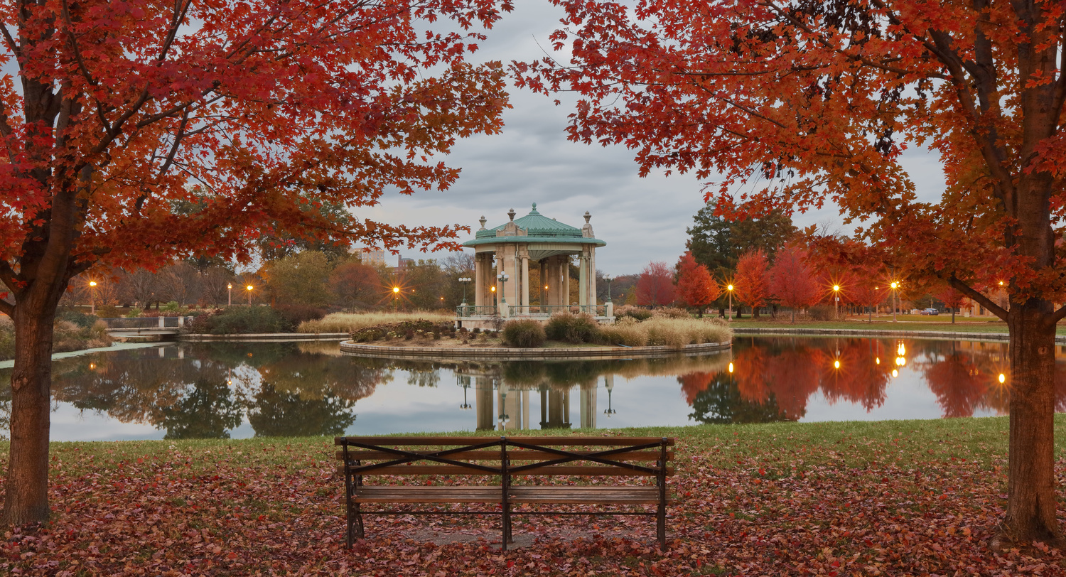 Autumn Night In The Park by Kevin Bobb