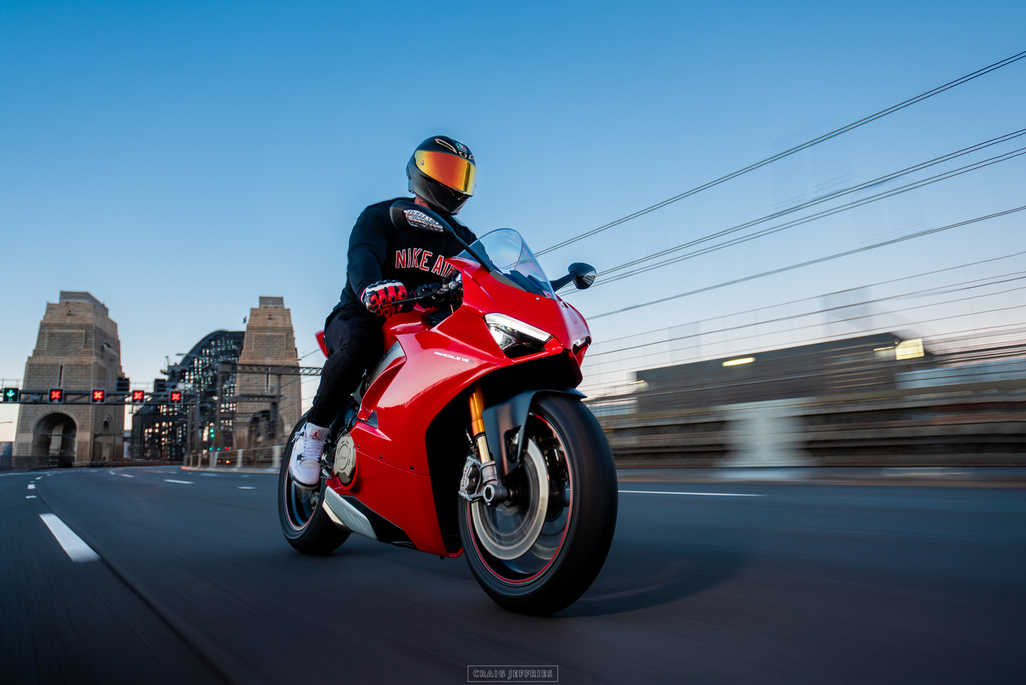 Ducati over Sydney Harbour by Craig Jeffries