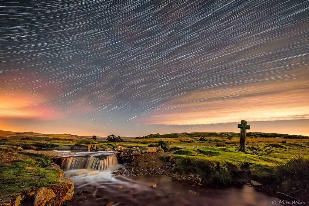Windy Post Cross Star Trails by Mike Wilson