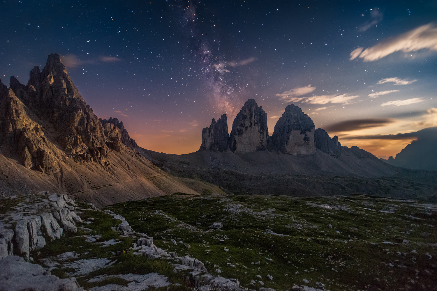 Dolomites moonset by Ivan Pedretti