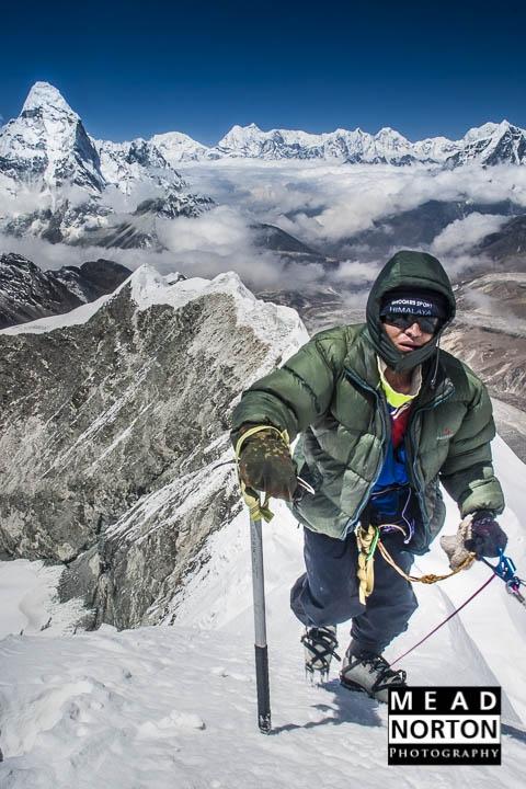 Sherpa summiting Island Peak, Nepal by Mead Norton